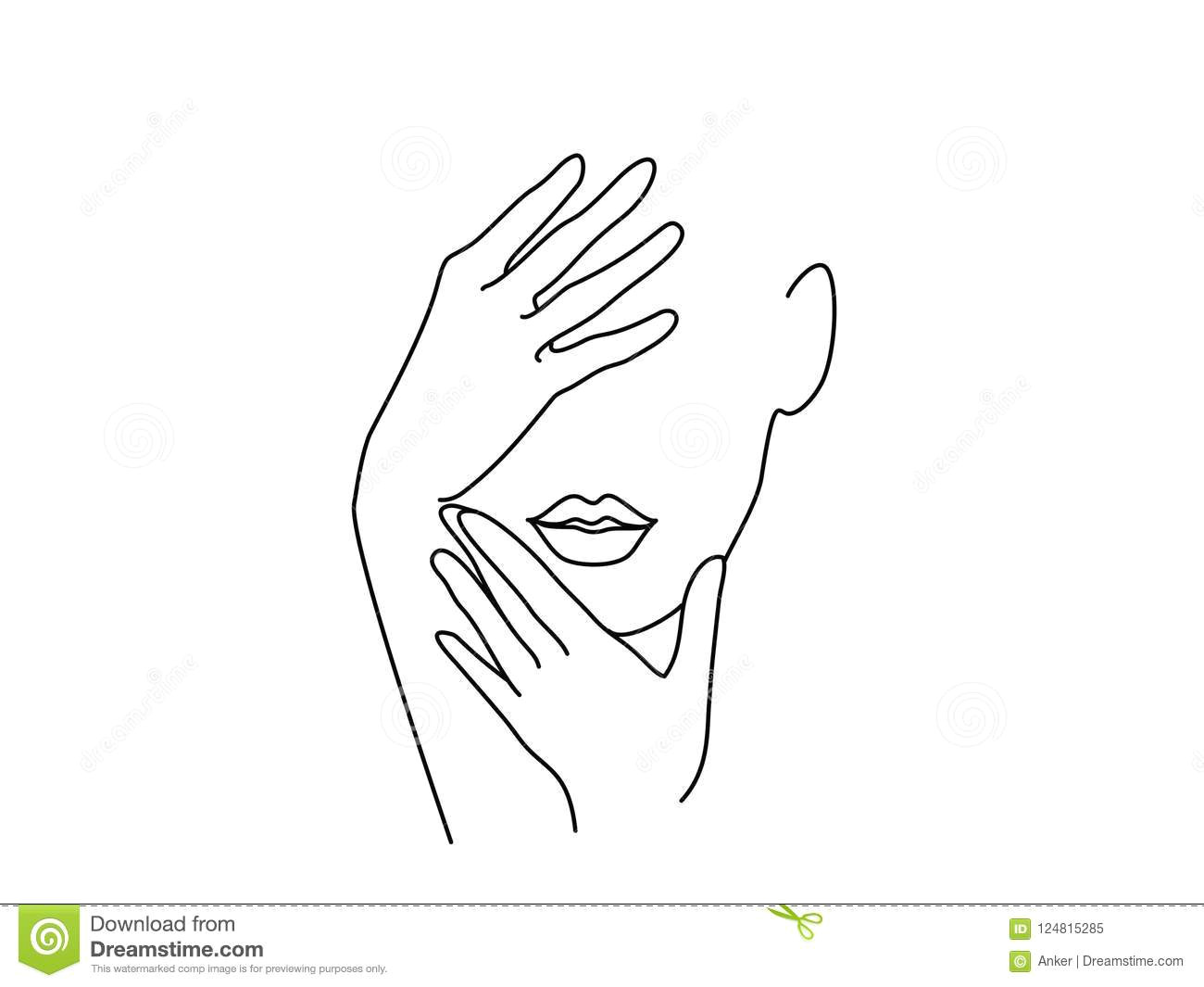 line drawing art woman face with hands