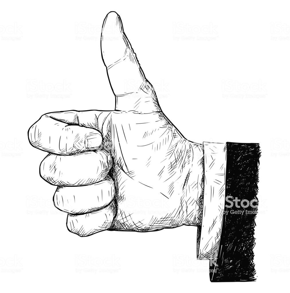 vektor kunstlerische illustration oder zeichnung von thumb up hand geschaftsmann im anzug geste lizenzfreies vektorkunstlerische