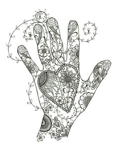 change to a hand flashing a peace sign change designs drawn on hand to doves hearts daisies