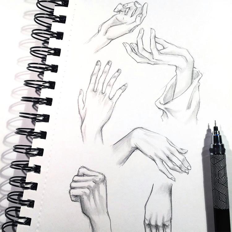 clean lines hands finger drawings