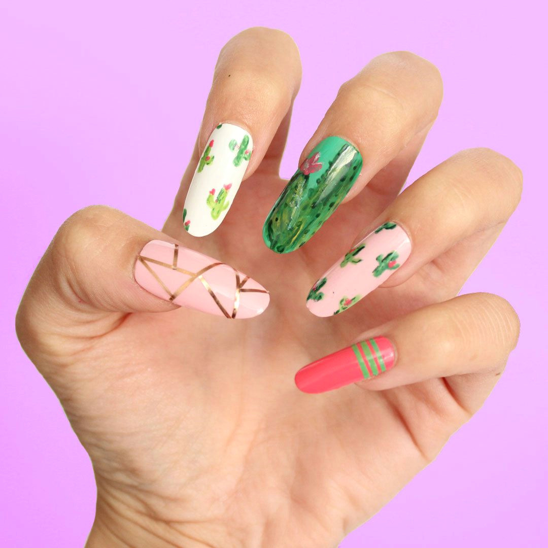cactus press on nails fake nails false nails glue on nails gel nails any shape size fun nails summer nails tropical by dippycownails on