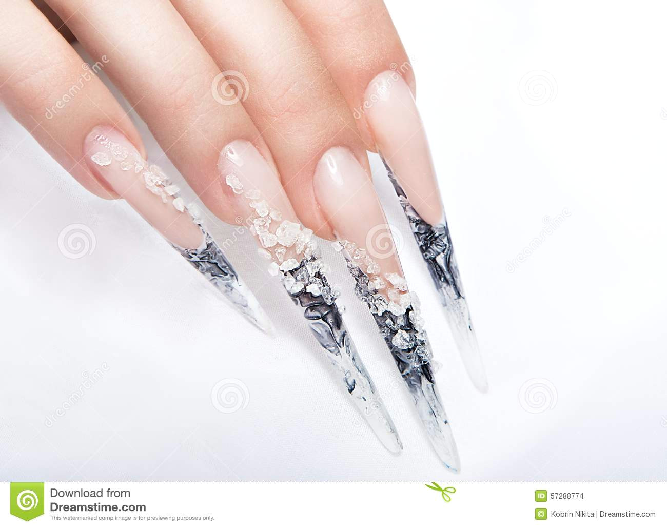 human fingers with long fingernail and beautiful