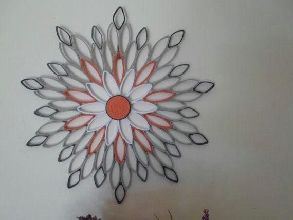 gray orange wall art paper flower wall hanging white orange home decor modern accents