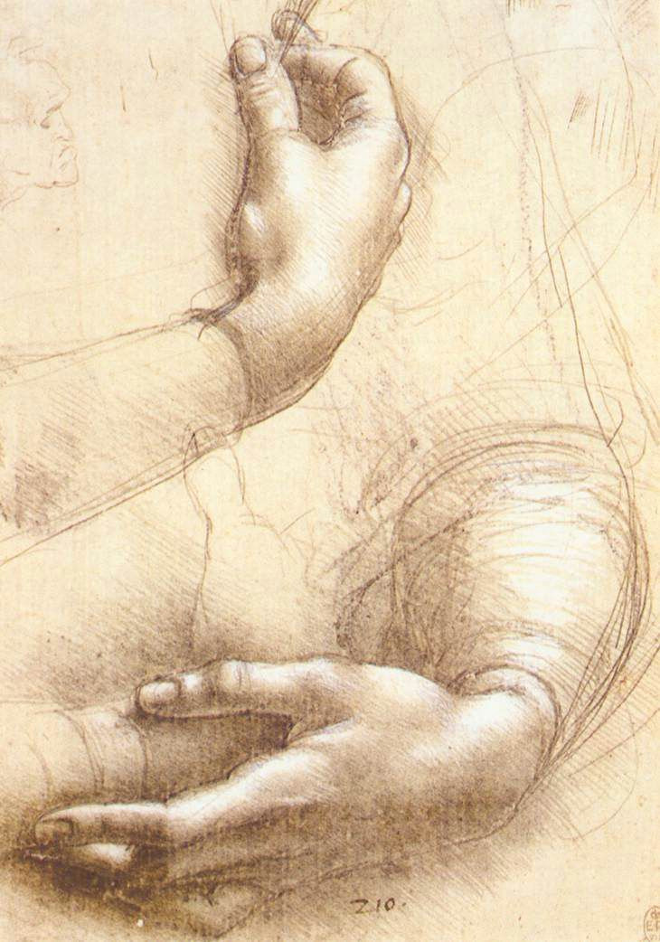 leonardo da vinci study of hands 1474 silverpoint and white highlights on pink prepared paper 8 43 x 5 91 in royal library windsor uk