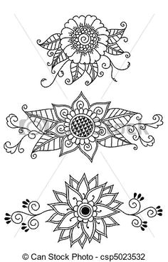vector henna flowers stock illustration royalty free illustrations stock clip art icon
