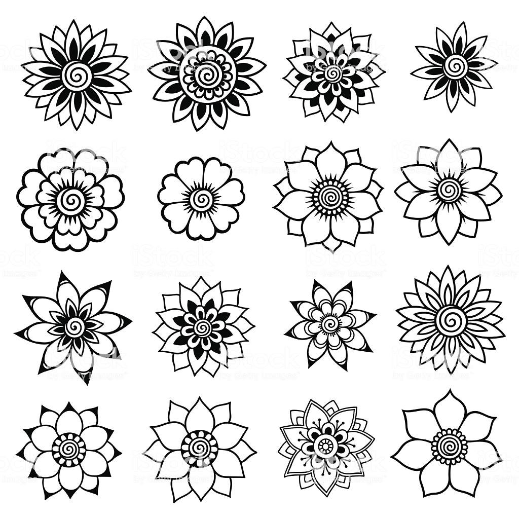 henna tattoo flower template mehndi set lizenzfreies henna tattoo flower templatemehndi set stock