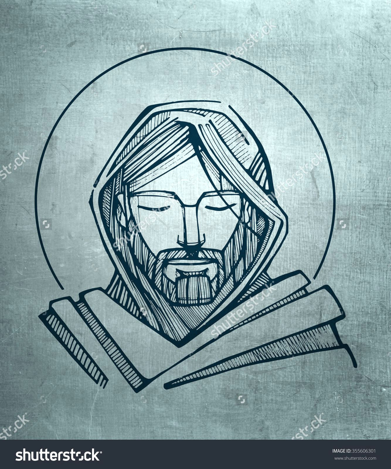 hand drawn illustration or drawing of jesus christ serene face 355606301 shutterstock