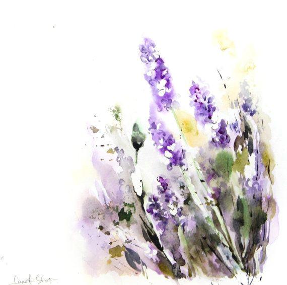 lavender flowers original watercolor painting floral watercolour art modern art watercolorarts