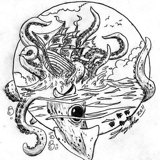 kracken attack square sail ship monster sea ship ocean water squid kracken fish art sketch doodle sailing