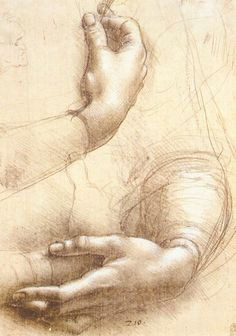 leonardo da vinci hands silverpoint drawing with white chalk accents