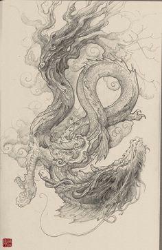 chinese dragon by zhelong xu chinese dragon drawing japanese dragon chinese drawings