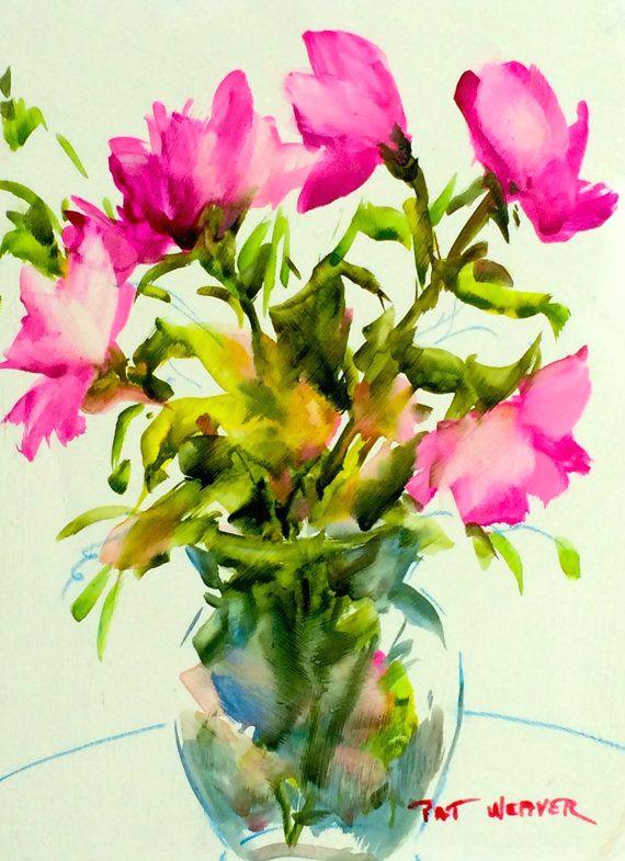 pink roses original watercolor by pat weaver