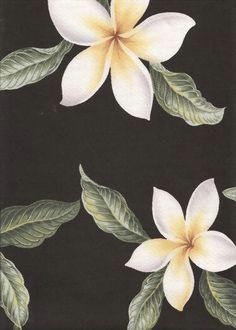 plumeria black tropical hawaiian plumeria frangipani flowers on a cotton upholstery fabric more fabrics at