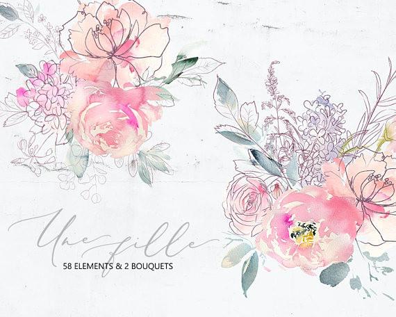 une fille pink purple watercolor flowers line botanical elements floral bouquets peonies clipart we