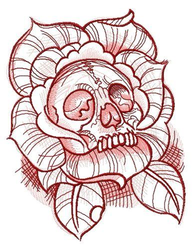 dead rose machine embroidery design machine embroidery design www embroideres com pink red flower plant rose nature horror dead skull blossom