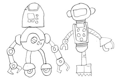 burr elementary school art with mr post robot drawings