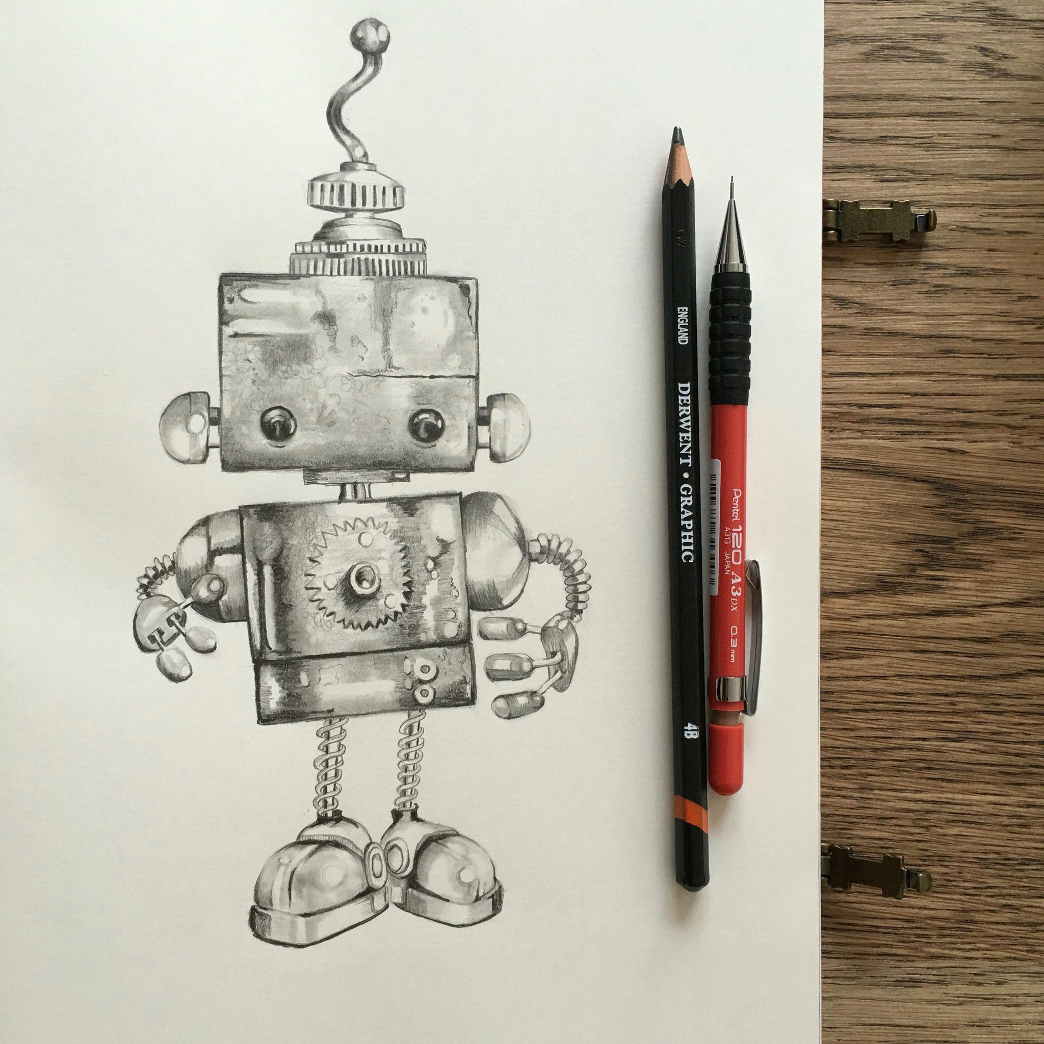cute robot graphite pencil drawing grafiettekeningen krabbel kunst tekeningen potloodtekeningen robot illustratie
