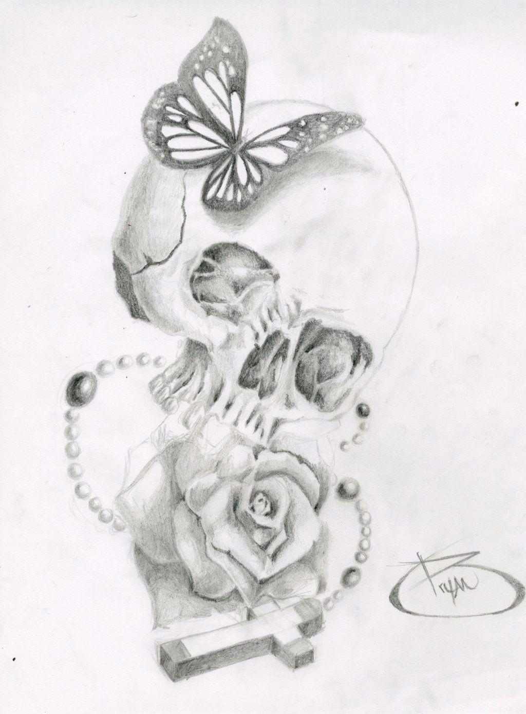 skull butterfly rose cross by bryanchalas deviantart com on deviantart