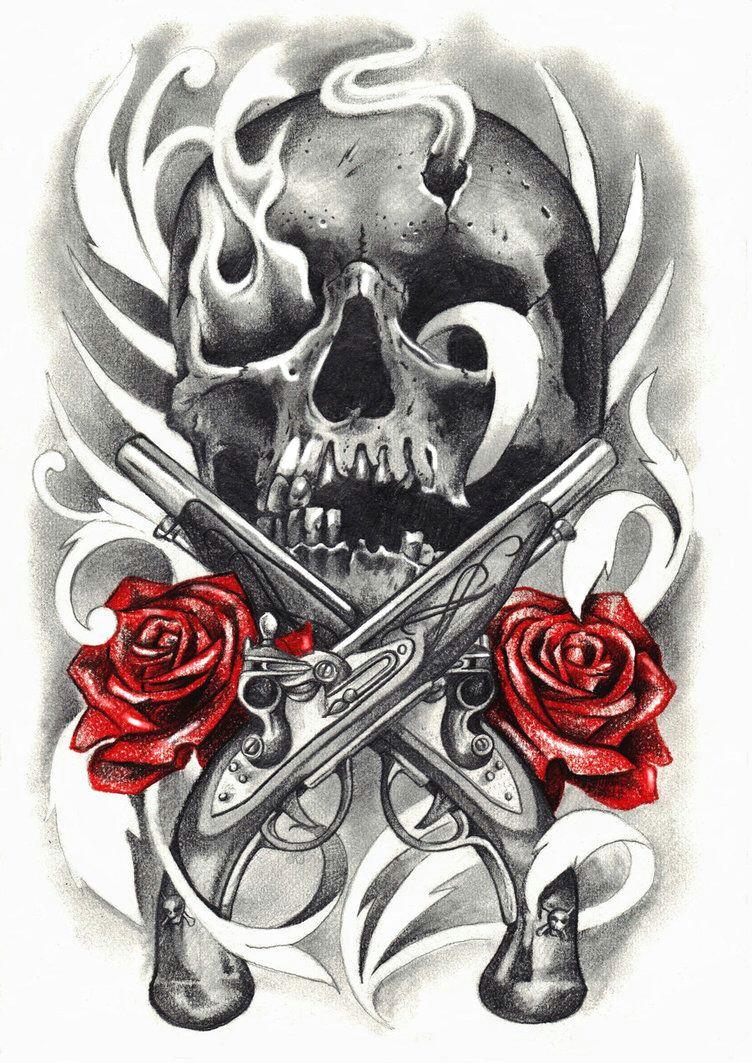 skull tatuajes tattoos gun tattoos sleeve tattoos skull rose tattoos body art