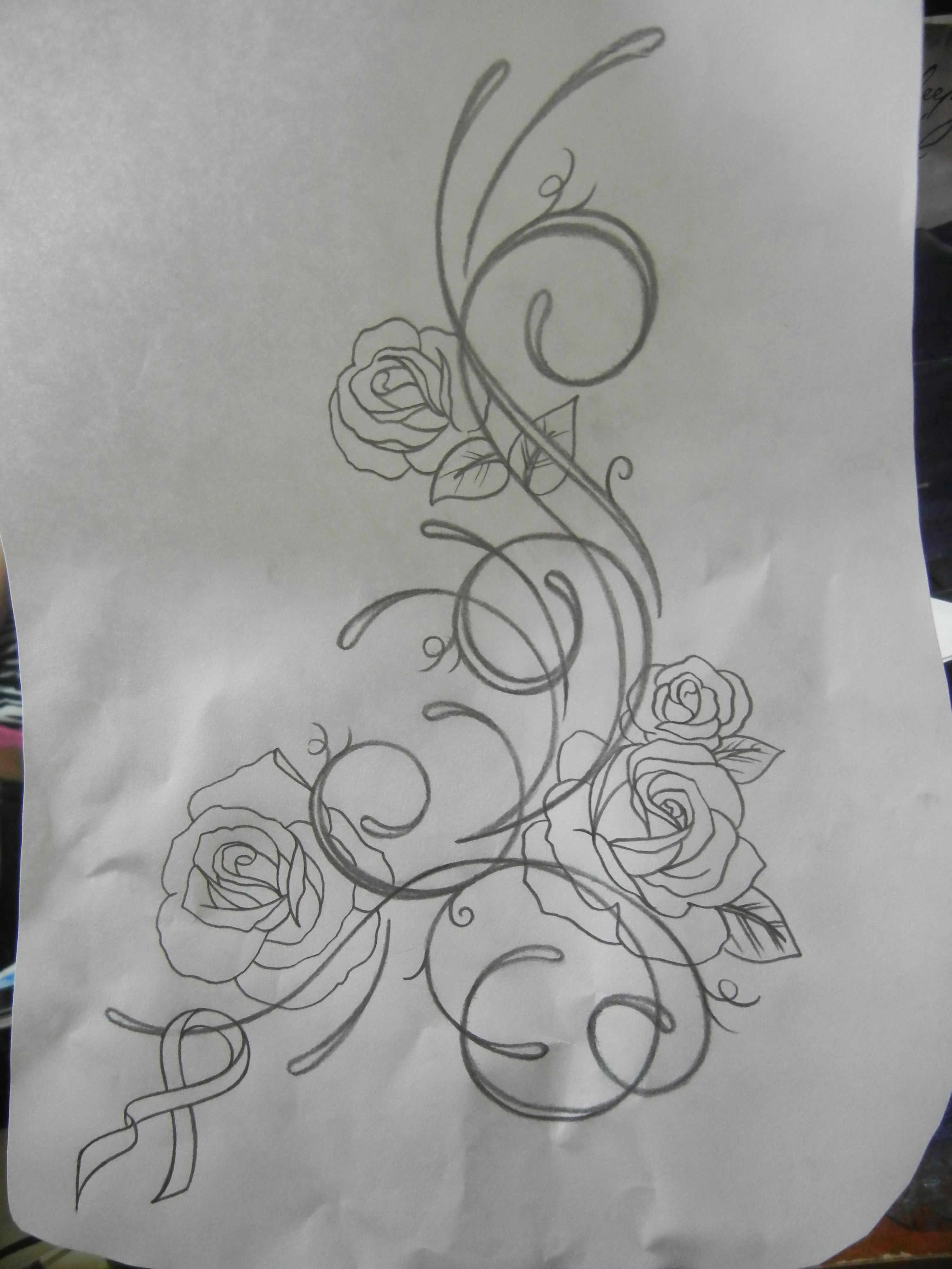 tattoo i m hopefully getting soon will be on my left hip n ribs and the roses will be more detailed ribbon will be teal the reason being is because when
