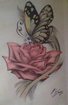 tending the rose butterfly colored