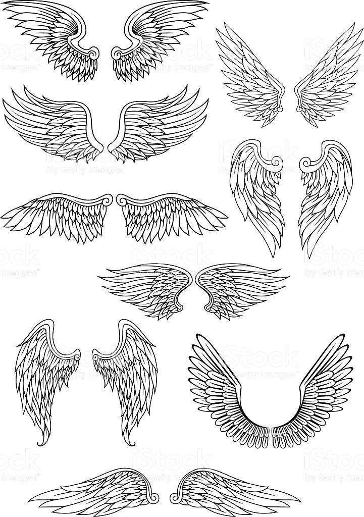 heraldic vogel oder engel flugel satz lizenzfreies vektor illustration flower tattoo designs flower tattoos