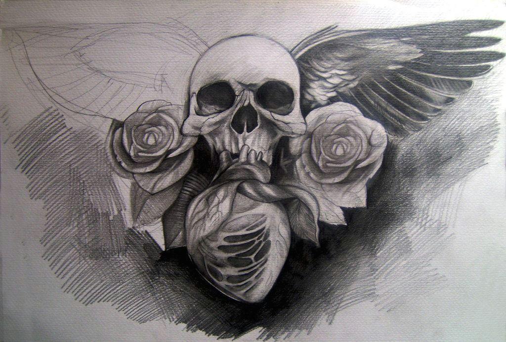 skull wings roses and heart by silviachan92 deviantart com on deviantart