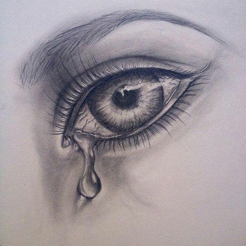 crying girl eyes drawing photo