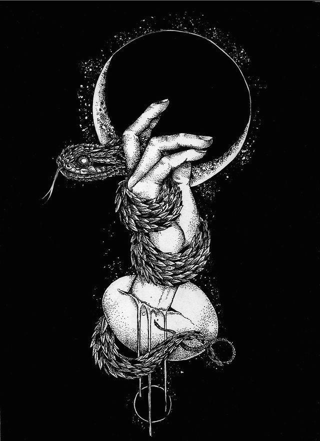 scary art black and white horror pencil trees moon hands skull