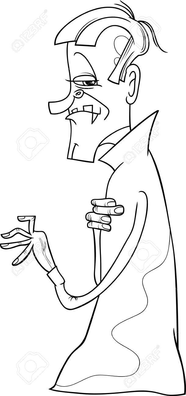 schwarz und weia karikatur illustration scary vampir oder graf dracula fur malbuch standard bild