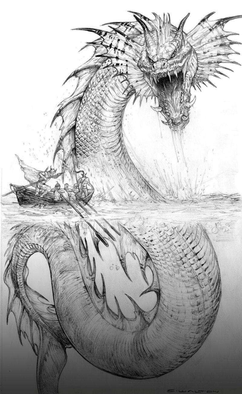 Drawings Of Sea Dragons Palladium Fantasy Jormund Serpent by Chuckwalton Deviantart Com On
