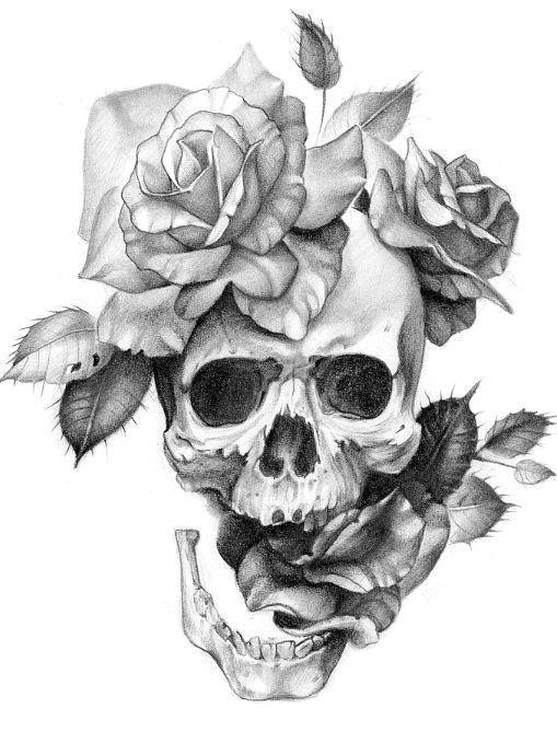 skull and flowers let them grow skull flower tattoo