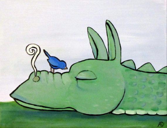 sleeping dragon original childrens storybook painting by andralynn 60 00