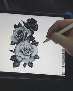draw disegno sketch roses tattooo tatuaggio tre rose three
