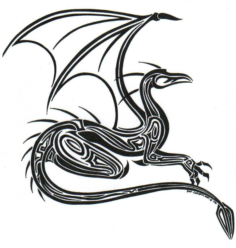 Drawings Of Tribal Dragons Tribal Dragon by L Sway On Deviantart Dragons Black White