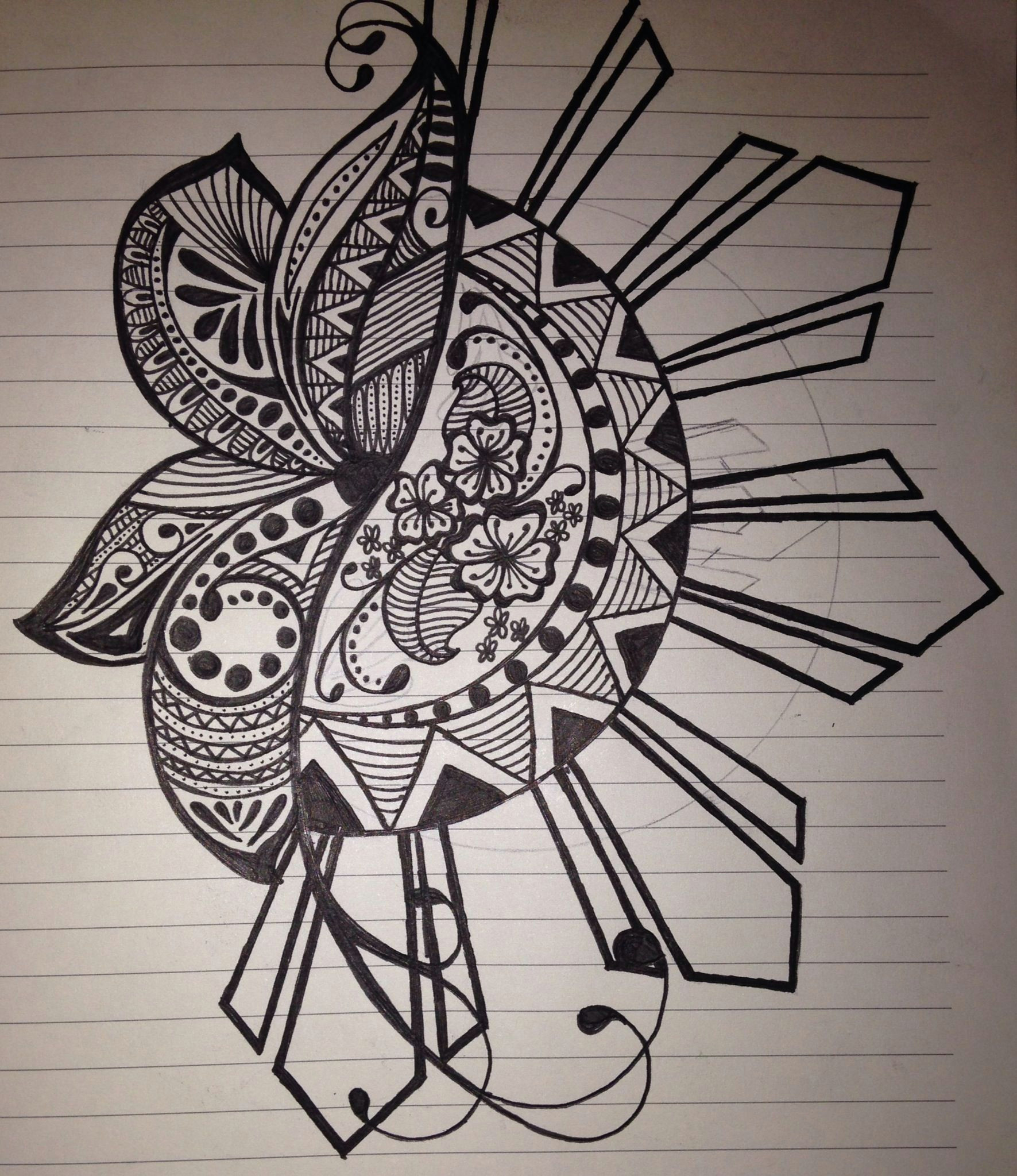 quick sketch of mine i incorporated the filipino sun because i am half lots of different designs in the petals of the flower makes it interesting to me