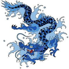 japanese water dragon art water