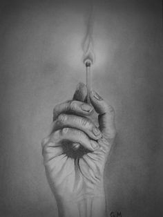 pencil drawing of a hand holding a lit match freehand based on a reference photo i took myself