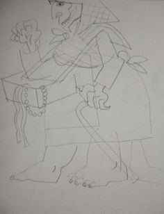 the devil disguised as a pedlar woman preliminary drawing sketchbooks devil wireframe