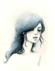 watercolor girl watercolor portraits watercolour hair simple watercolor watercolor fashion watercolor