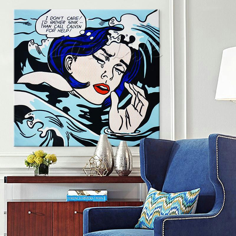 2019 roy lichtenstein pop art cartoon oil painting on canvas drowning girl wall art pictures for living room home decor caudros decor from yingpangpan