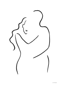 abstract minimalist couple sketch simple line drawing embrace illustration a3 11 7 x 16 5