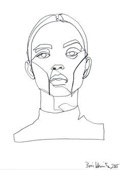 borisschmitz gaze 324 continuous line drawing by boris schmitz face