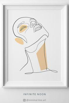 beautiful minimal one line drawing illustration female face line art sketch printable minimal feminine