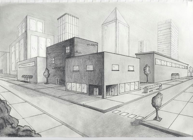 picture two point perspective city 2 point perspective drawing linear perspective drawing vanishing