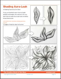 shading aura leah tangle pattern tangle tutorial by eni oken