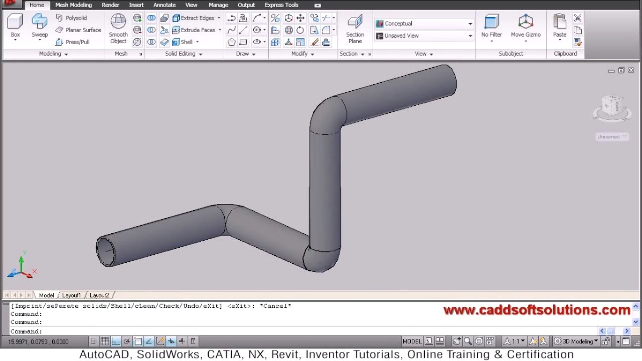 autocad 3d pipe 3d piping tutorial