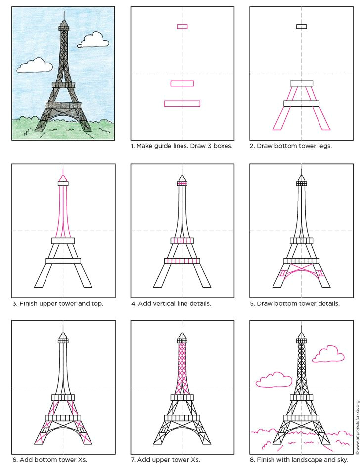 Easy 3d Drawings for Beginners Pdf How to Draw the Eiffel tower Apfk Tutorials Pinterest Drawings