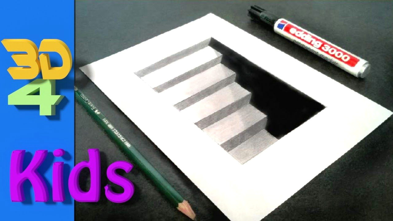 3d drawing cellar stairs step by step very easy for kids