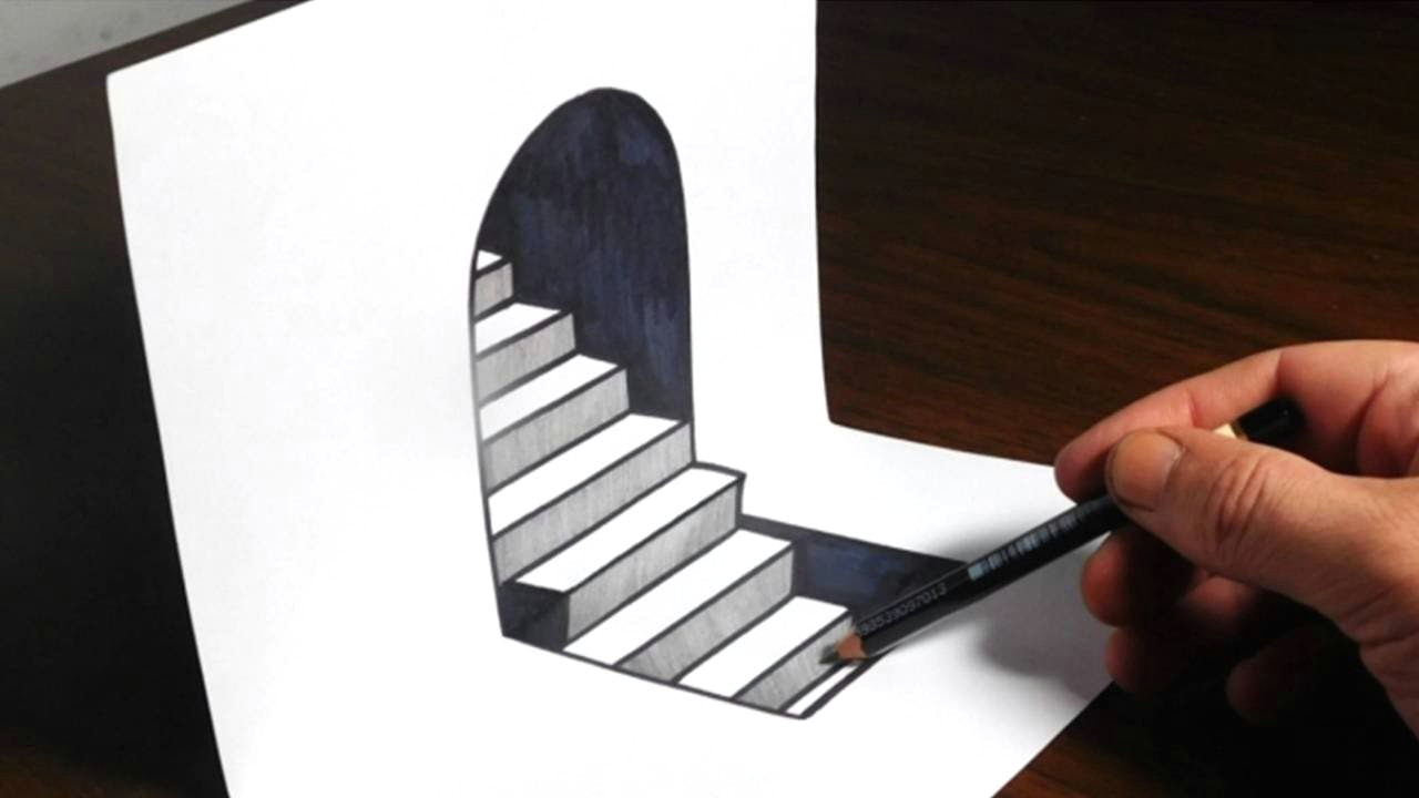 how to draw 3d steps on paper easy trick art optical illusion materials used 110lb cardstock sharpie hb pencil scissors thank you for watching and